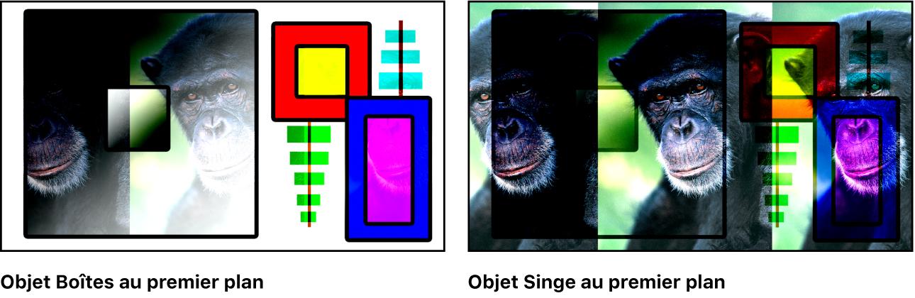 Canevas affichant les boîtes et le singe fusionnés à l'aide du mode Lumière linéaire