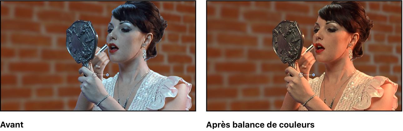 Composite à fond vert, avant et après l'étalonnage de l'image de premier plan