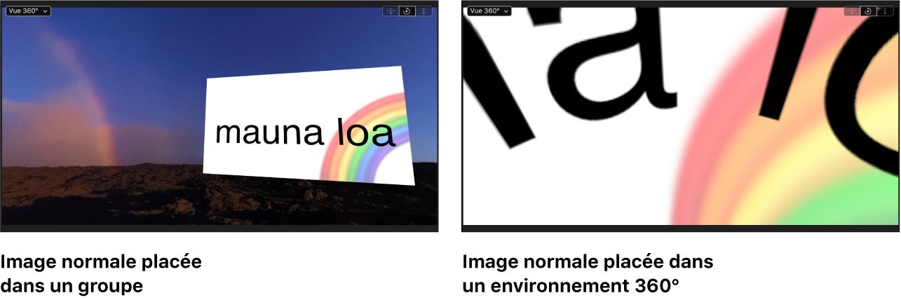 Images montrant une image équirectangulaire s'affichant correctement dans un environnement 360° et image standard semblant déformée dans un environnement 360°