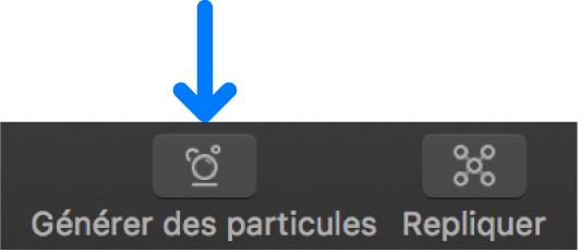 Bouton Générer des particules dans la barre d'outils