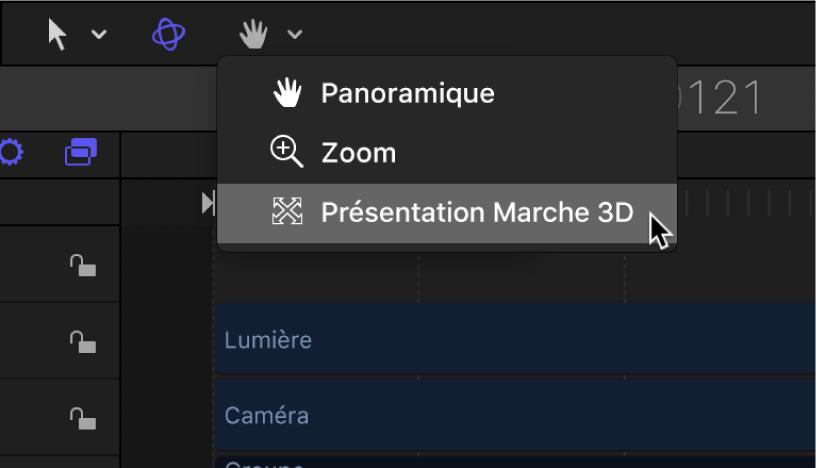 Sélection de l'outil Orientation présentation3D dans la barre d'outils