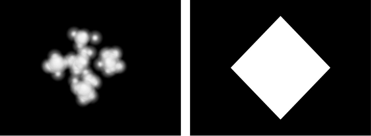 Canevas affichant un système de particules avec la forme définie sur Image