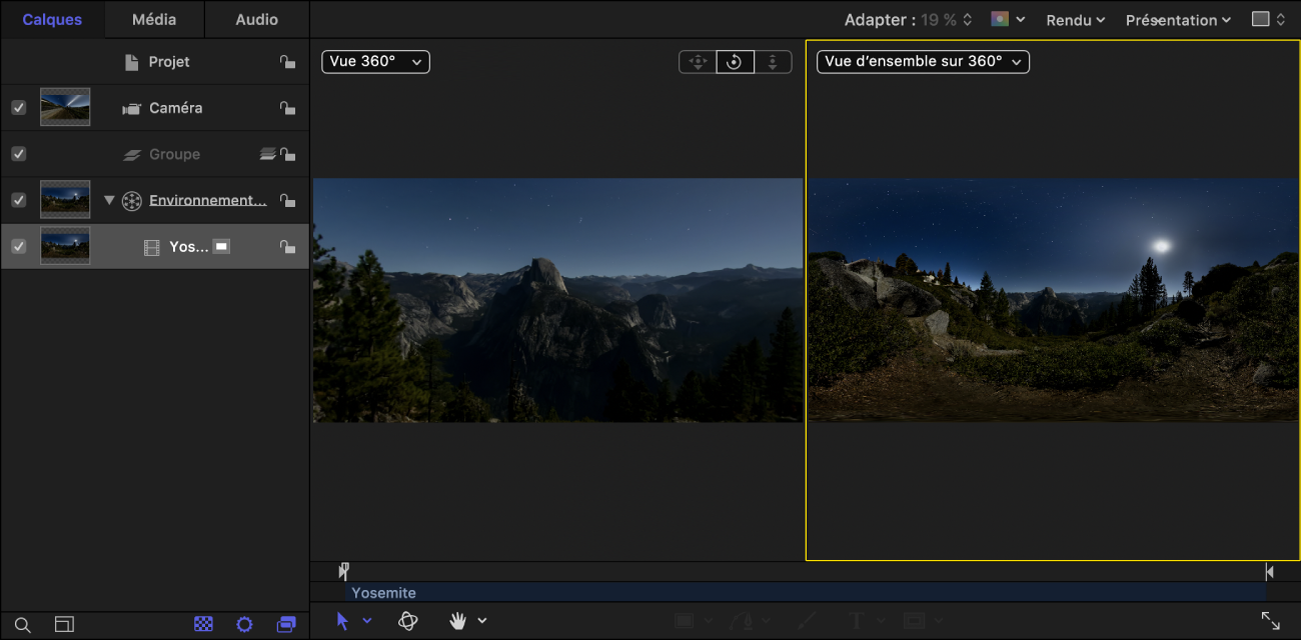 Canevas affichant la présentation Vue 360° (l'image projetée) dans la fenêtre d'affichage de gauche et la présentation Vue d'ensemble sur 360° (l'image équirectangulaire) dans la fenêtre d'affichage de droite