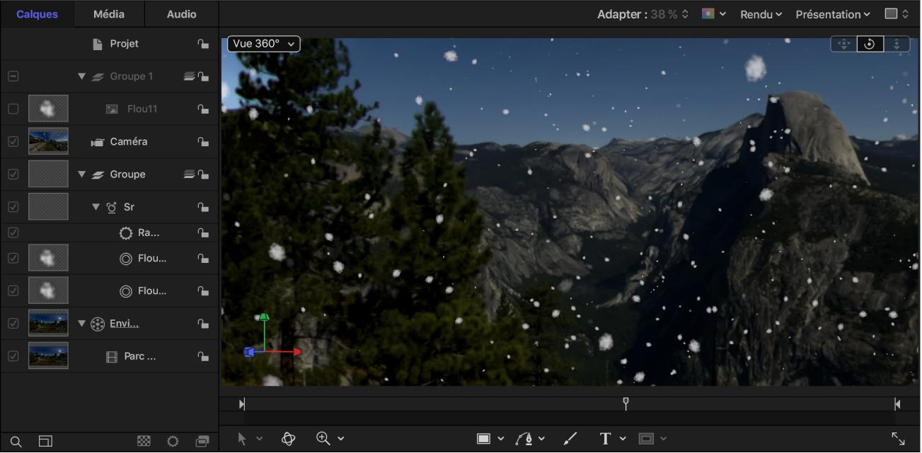 Particules de neige intégrées à la scène 360°