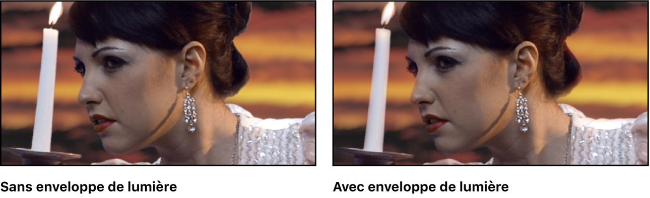 Image incrustée avec et sans effet Enveloppe de lumière appliqué