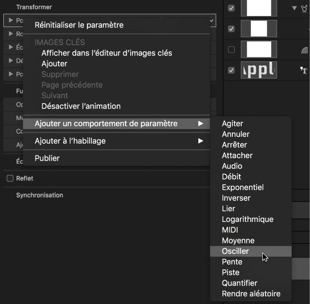 Sélection de l'option «Ajouter un comportement de paramètre» dans le menu contextuel