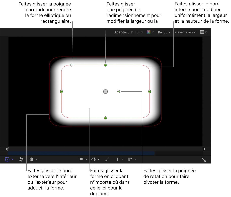Commandes à l'écran permettant de régler la taille, l'adoucissement des bords, la rondeur et la rotation d'une forme simple
