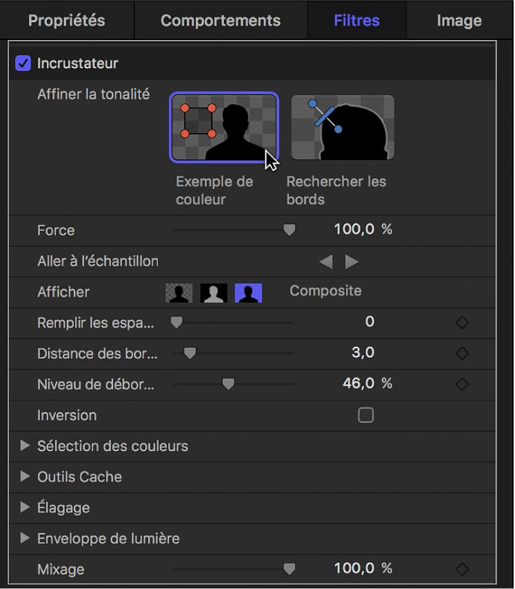 Clic sur l'outil Exemple de couleur dans la palette