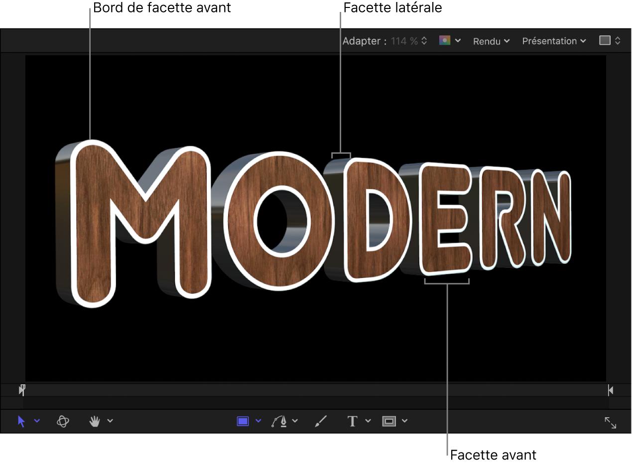 Texte3D dans le canevas présentant une facette Bord avant blanche, une facette Côté en métal et une facette Avant en bois