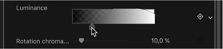 Réglage des poignées d'adoucissement de la commande Luminance du filtre Incrustateur