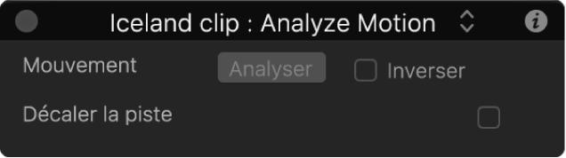 Palette affichant les paramètres du comportement Analyser animation