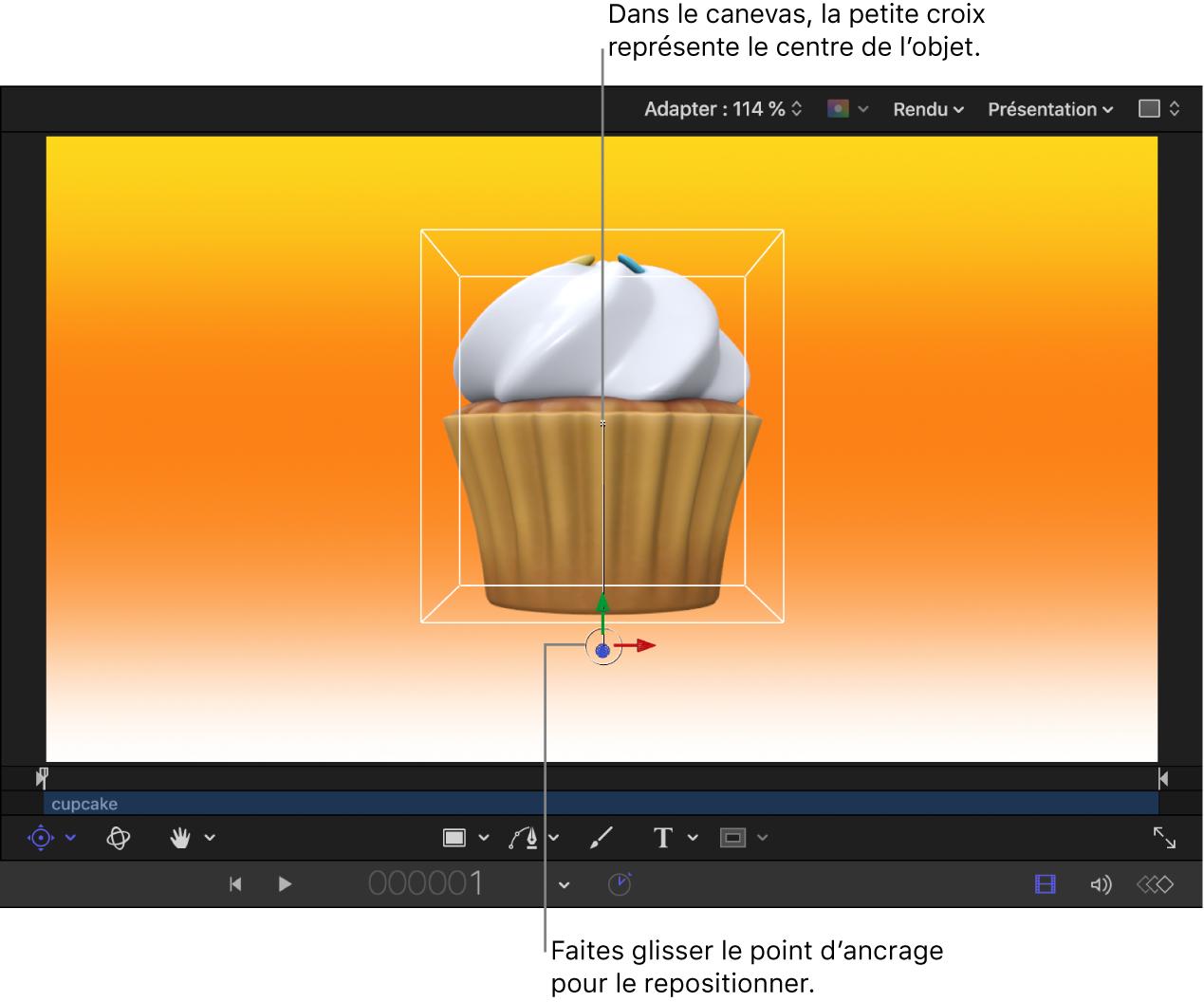 Canevas affichant le point d'ancrage de décalage de l'objet3D, le point central de l'objet et les commandes à l'écran Point d'ancrage