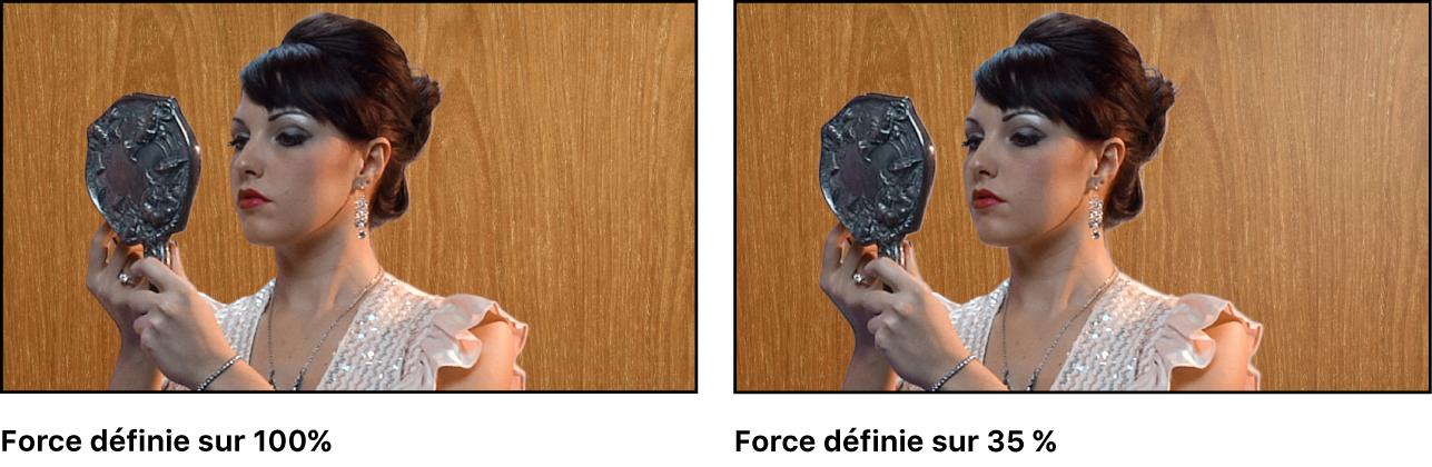 Comparaison de deux images incrustées dans le canevas. Dans le premier exemple, la valeur Force est définie sur 100pour cent. Dans le deuxième exemple, la valeur Force est définie sur 35pour cent.