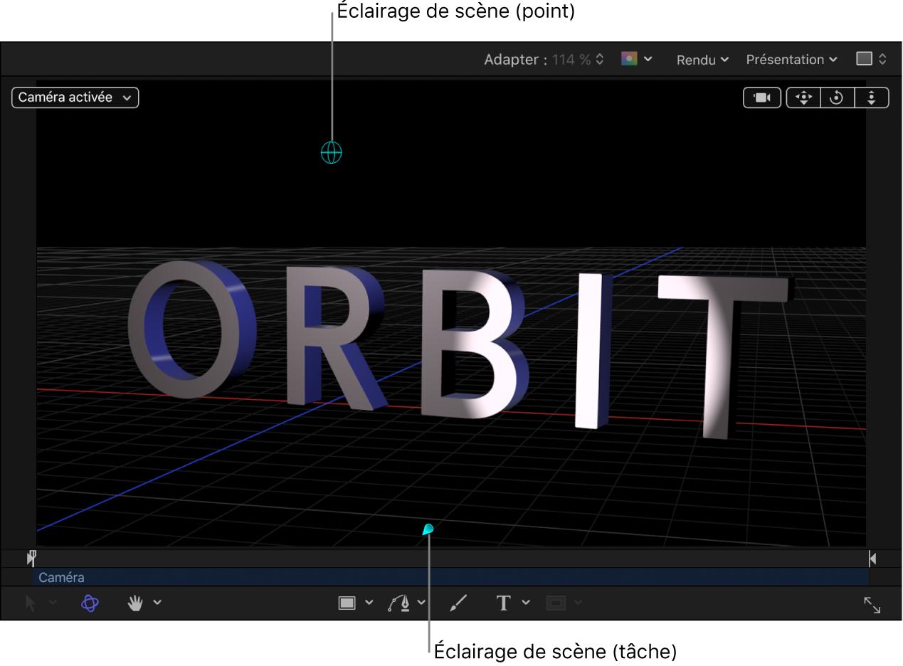 Canevas affichant un objet texte3D avec une lumière de scène