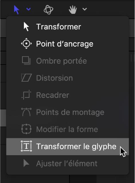 Sélection de l'outil Transformer le glyphe dans la barre d'outils du canevas