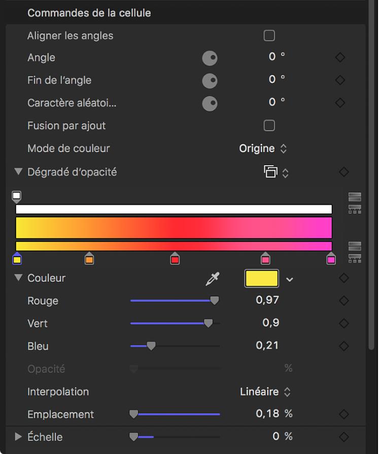 Inspecteur du réplicateur affichant l'option Mode de couleur définie sur Sur motif