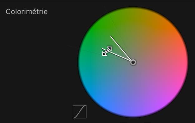 Glissement du bord intérieur de la commande Colorimétrie pour ajuster la tolérance