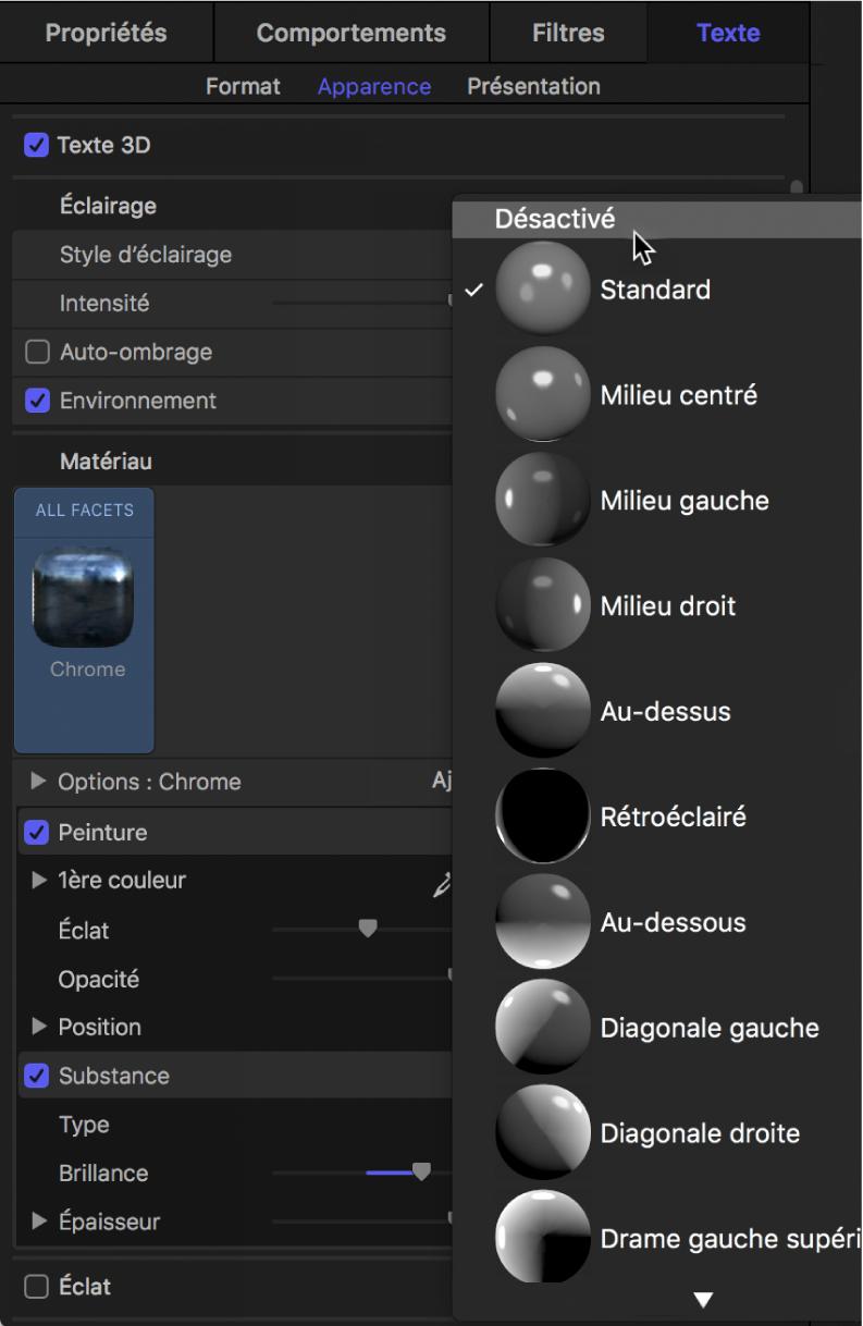 Sélection de l'option Désactivé dans le menu local Style d'éclairage de la fenêtre Apparence de l'inspecteur de texte