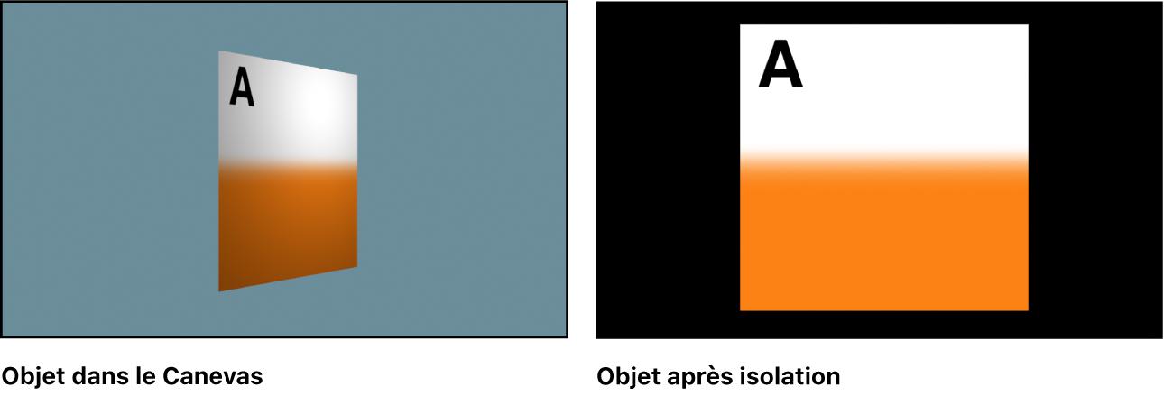 Fenêtre du canevas avec un objet isolé