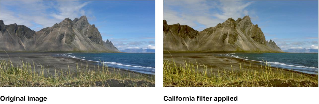 「カリフォルニア」フィルタの効果を示すキャンバス
