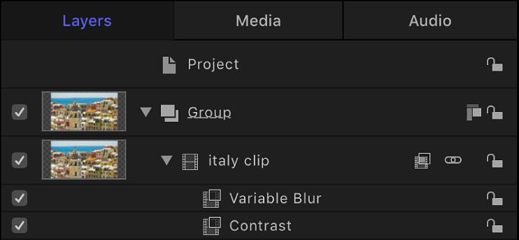 「レイヤー」リスト。オブジェクトに適用されたフィルタが表示されています