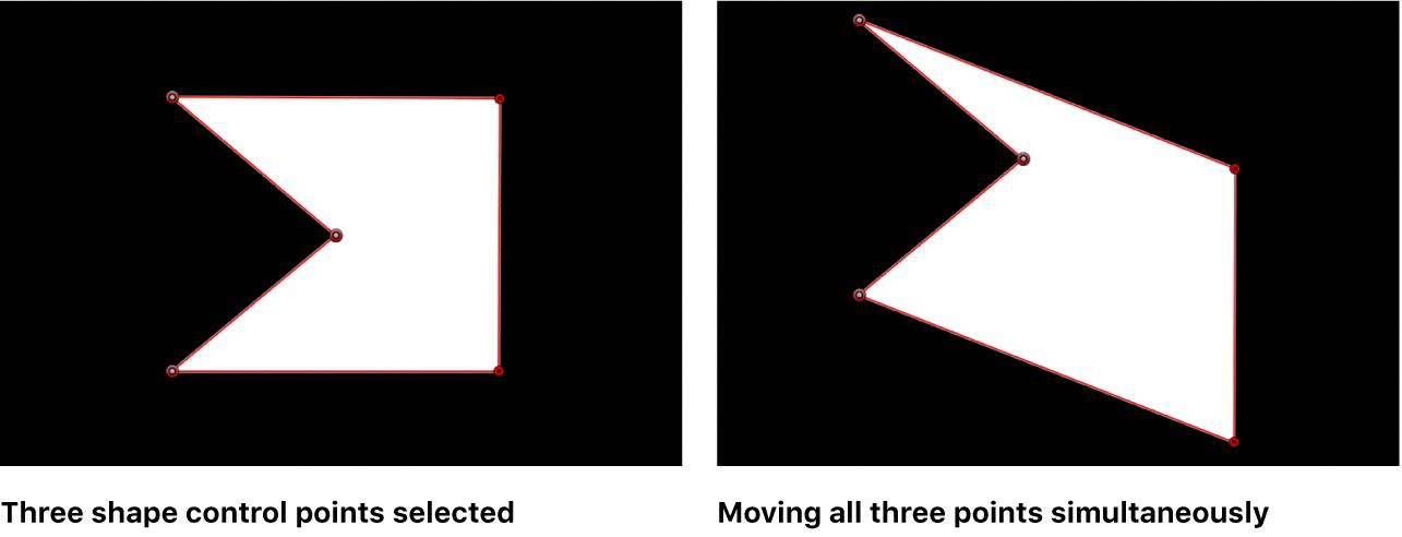 显示一起选定并移动的多个控制点的画布