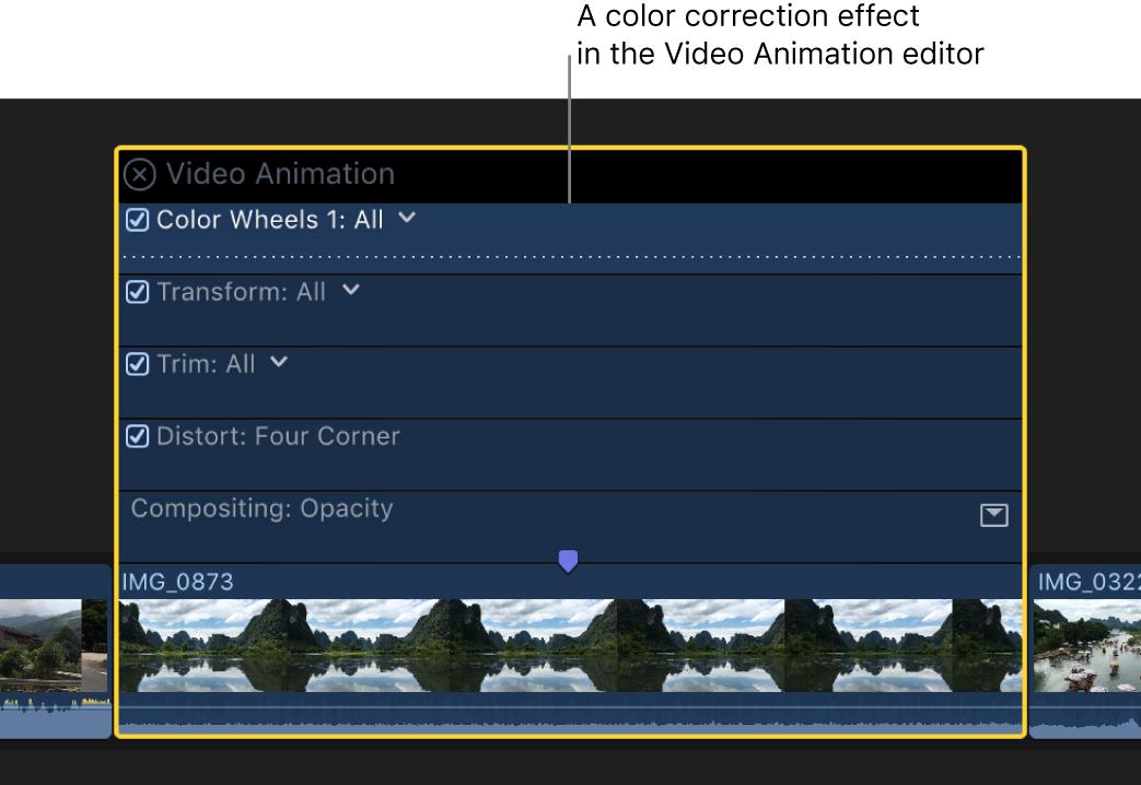 Ein Farbkorrektureffekt im Videoanimations-Editor oberhalb eines Videoclips in der Timeline