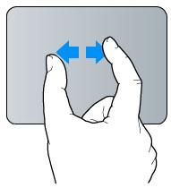 Geste für Auf-/Zuziehen mit zwei Fingern