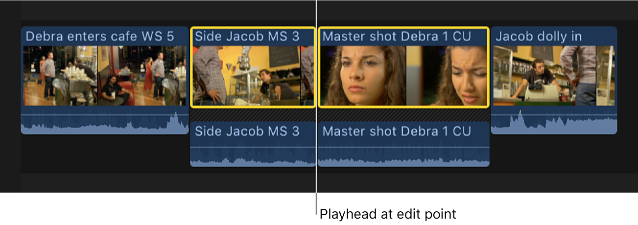 The playhead positioned on an edit point between two clips in the timeline