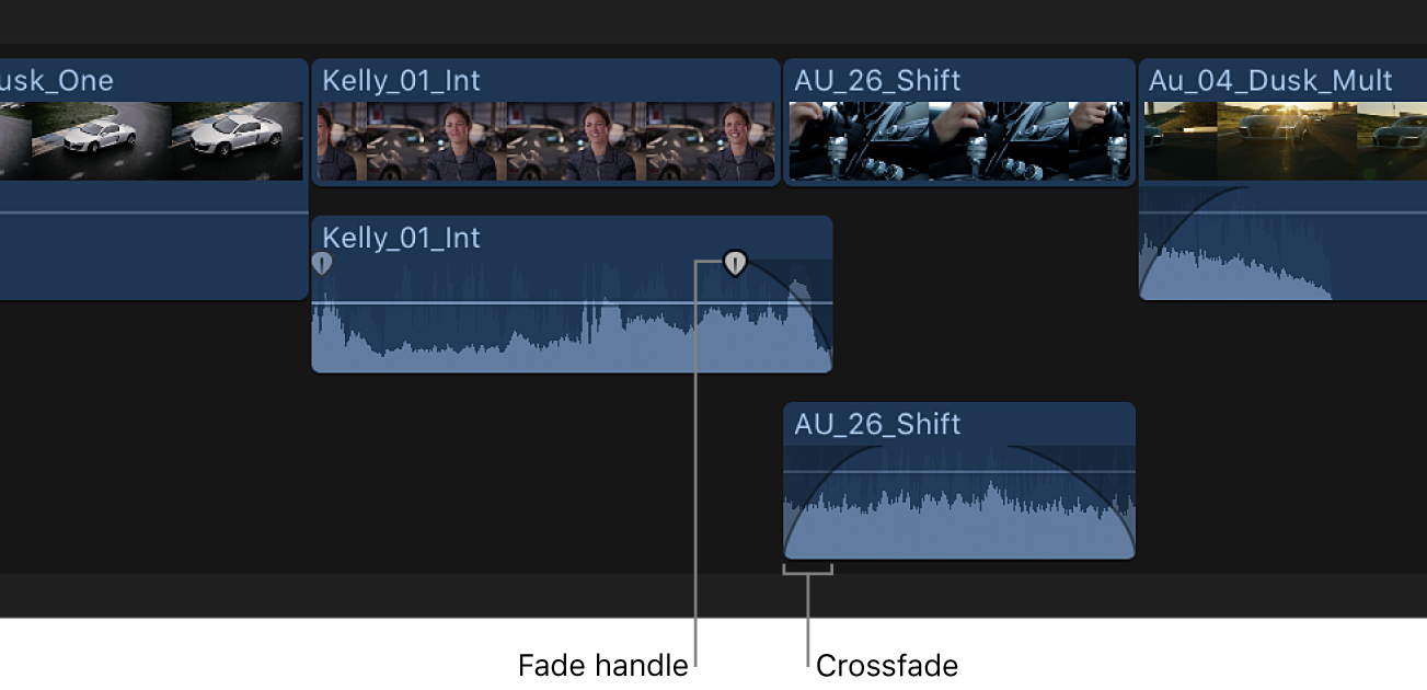 Overlapping audio portions of clips in the timeline shown with fades applied to create a crossfade