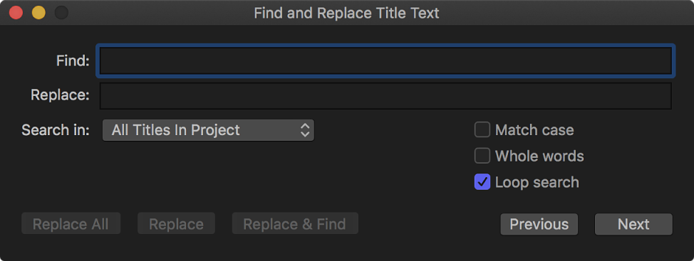 The Find and Replace Title Text window