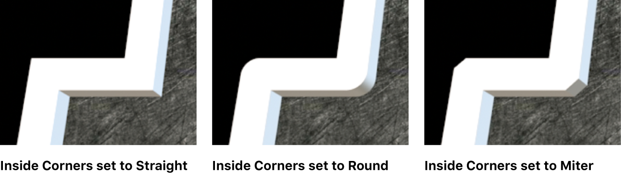 Three instances of 3D text in the viewer showing Inside Corners set to Straight, Round, and Miter