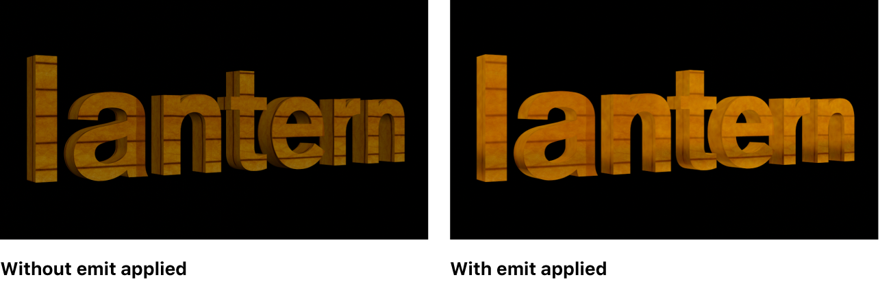 A 3D title in the viewer shown with and without an emit layer