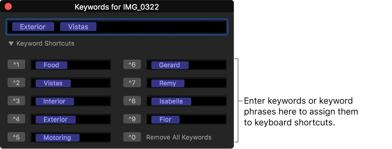 The keyword editor showing keyword shortcut fields