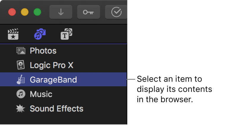 The Photos and Audio sidebar showing GarageBand selected