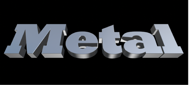 3D text in the viewer with the Metal substance applied
