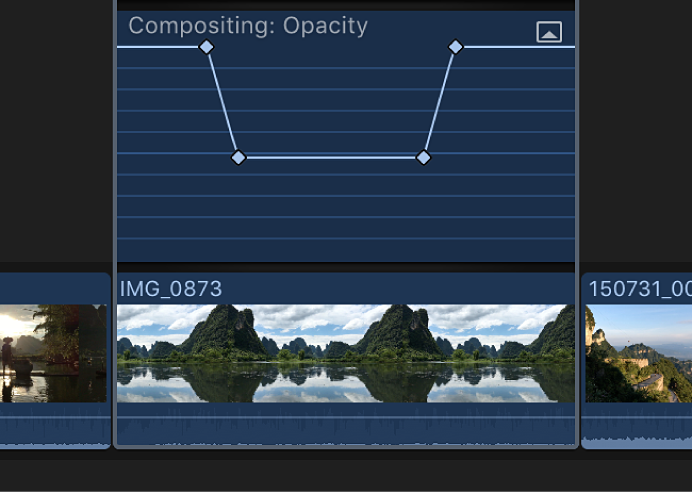 Keyframes shown added to the effect in the Video Animation editor