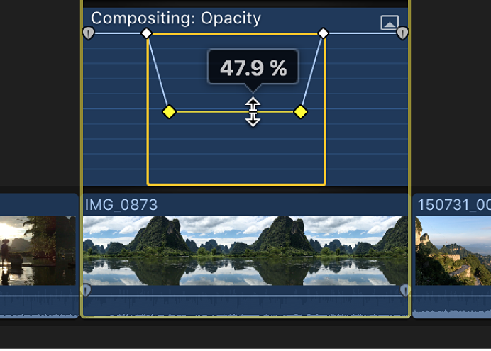 The horizontal control for an effect in the Video Animation editor being dragged to adjust the effect