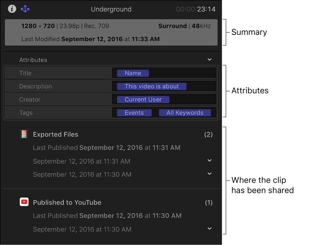 The Share inspector showing summary information, metadata included with the shared item, and where clip has been shared