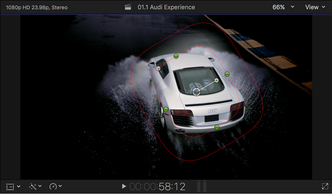 The viewer showing a shape mask around an image of a car, with everything outside the mask area darkened