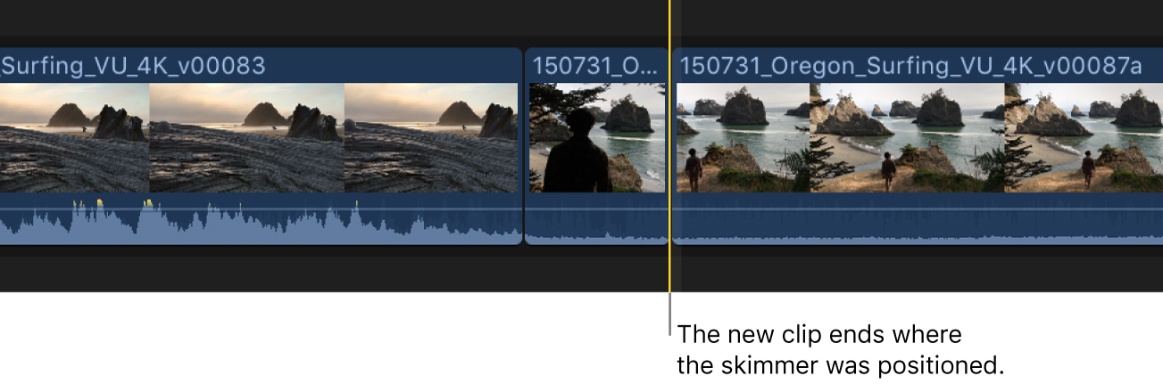 The new clip shown added to the timeline, with the end point at the skimmer location