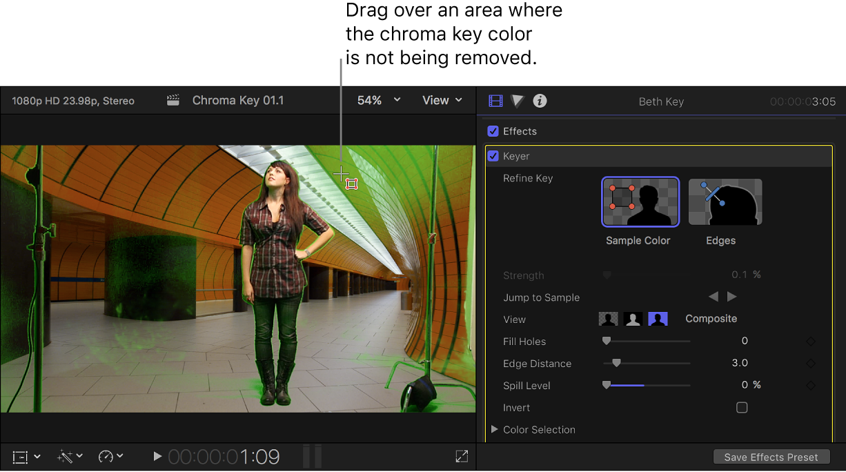 The Sample Color tool being used in the viewer to clean up the chroma key