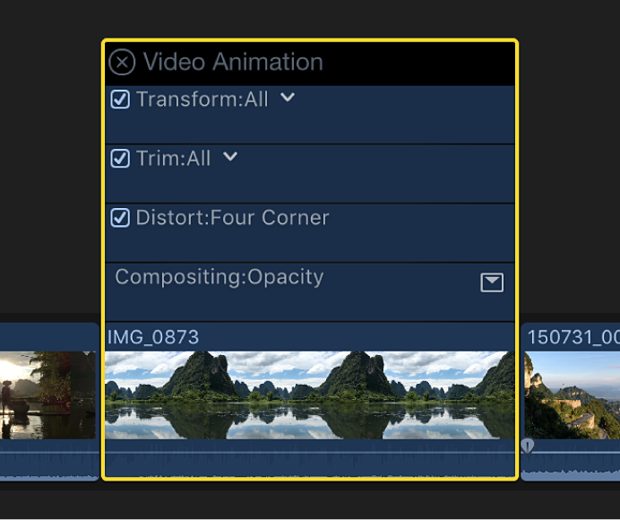 The Video Animation editor shown above a video clip in the timeline