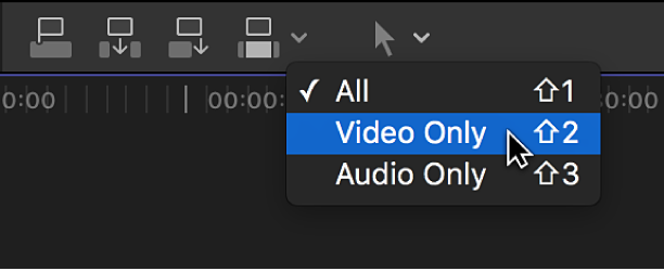 The Video Only option in the Edit pop-up menu above the timeline