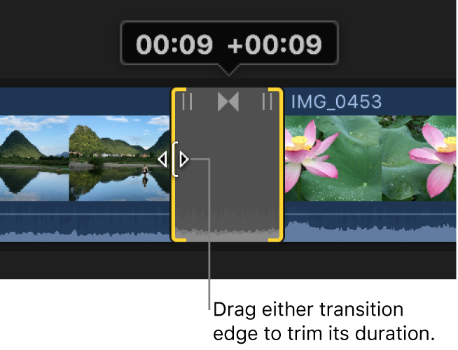 The edge of a transition being dragged to change the transition's duration