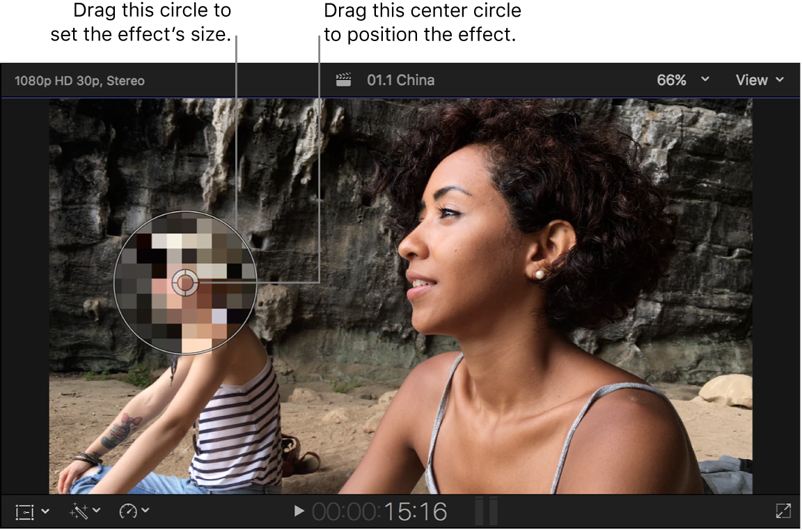 The viewer showing the Censor effect onscreen controls