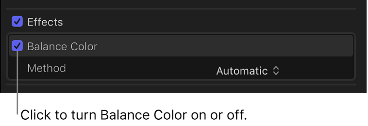The Effects section of the Video inspector showing the Balance Color checkbox and the status of color balance analysis