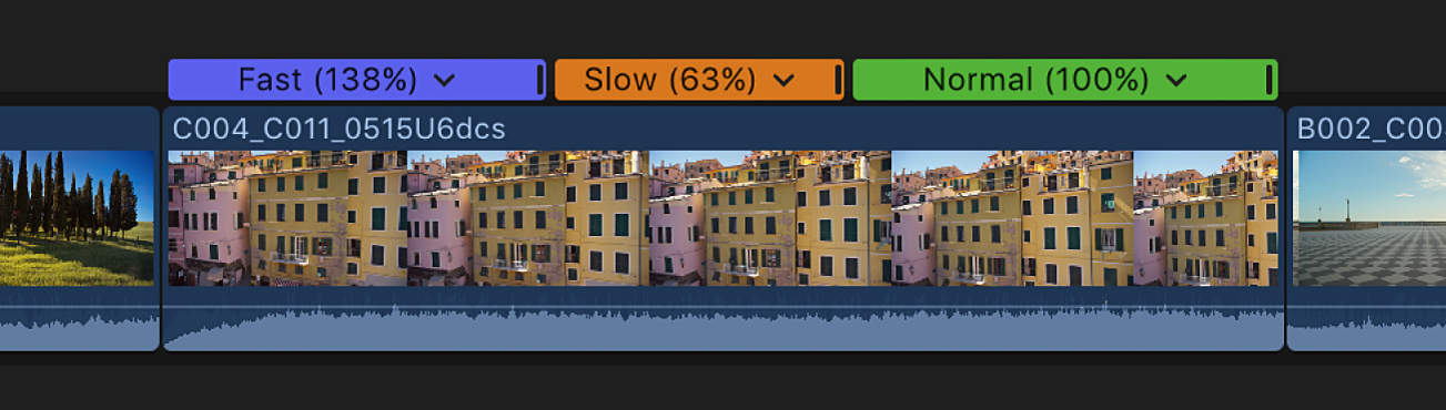 The timeline showing a clip with speed segments