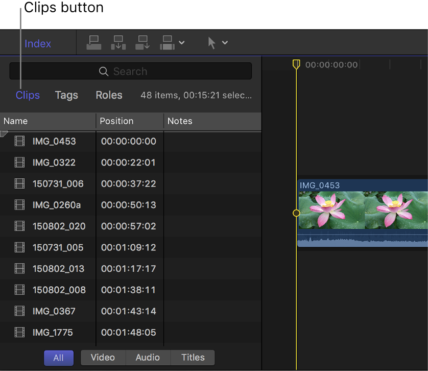 The Timeline Index with the Clips button selected at the top