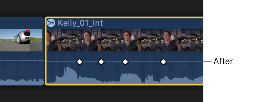 The keyframe curve in the Audio Animation editor shown flattened after the adjustment